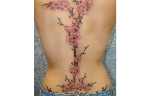Cherry Blossom Back Tattoo