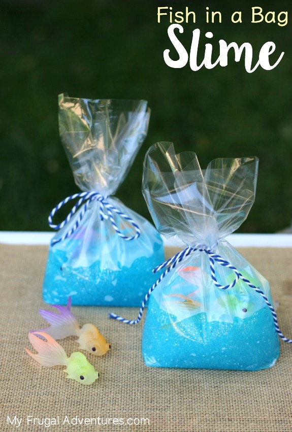 Fish in Slime Bag Favor | Budget Birthday Favors via Pretty My Party