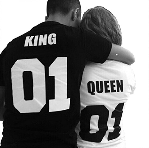 King Queen 01 Back Print Couple T Shirts Valentine