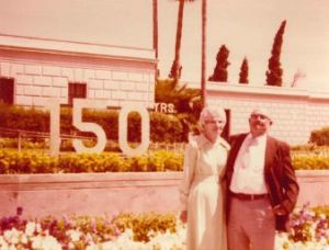 Herman and Nettie in front of the Temple