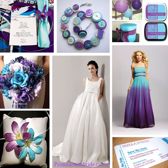 purple and turquoise wedding colours - primadonnabride