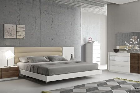 fashionable leather modern design bed set with long panels