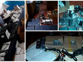 En los allanamientos se incauutaron decos, modems, cables coaxil y HDMI, controles remotos, transformadores y herramientas.
