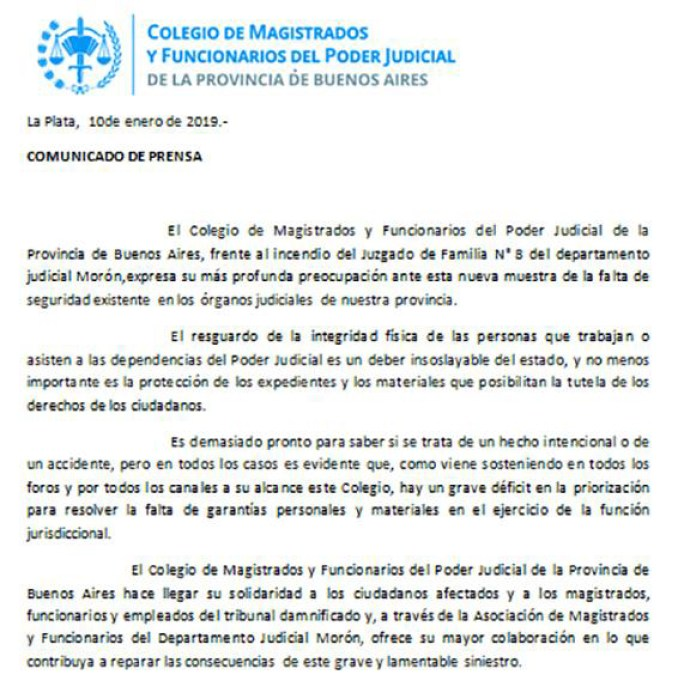 Comunicado Colegio de Magistrados