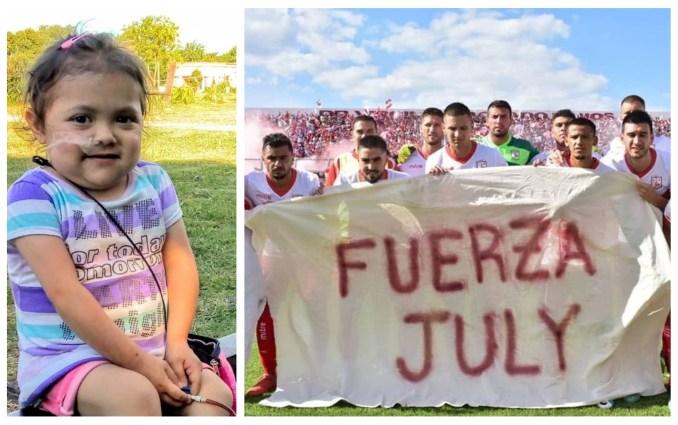 """Julieta Ruiz Carrizo fue la destinataria del aliento del primer equipo del Club Deportivo Morón, y la """"fuerza"""" se hizo realidad"""