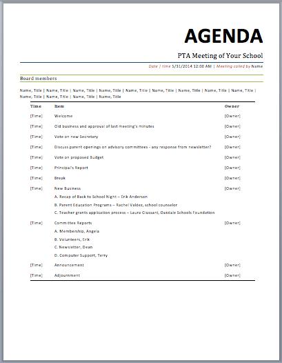 Sample Business Meeting Agenda