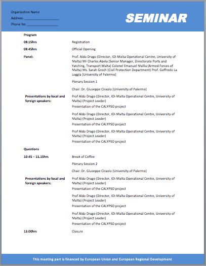 seminar meeting agenda template