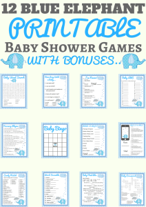 blue elephant baby shower printable
