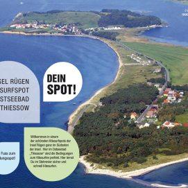Insel Rügen Luftbild Kitesurfspot Ostseebad Thiessow. Willkommen in einem der schönsten Kitesurfspots der Insel Rügen, ganz im Südosten der Insel. Hier im Ostseebad Thiessow sind die Bedingungen zum Kitesurfen perfekt. Hier lernst du Du im Stehrevier sicher und schnell Kitesurfen. Zu Fuss zum Schulungsrevier.