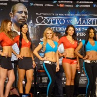 Top Rank Knockouts & Chicas Tecate ring girls at Cotto vs. Martinez weigh-in
