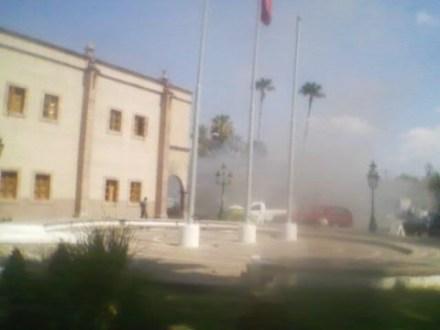 La explosión en Nuevo Laredo. Foto: Tomada de Twitter