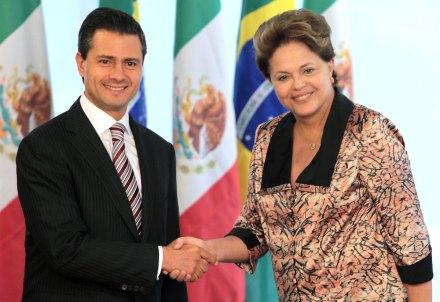 El presidente Enrique Peña Nieto, y la presidenta de Brasil, Dilma Rousseff.