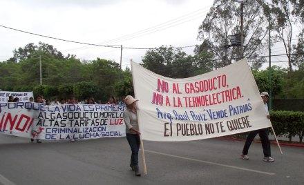 La protesta en contra de la termoeléctrica en Huexca, Yecapixtla, Morelos. Foto: Especial