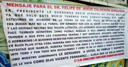 Uno de los mensajes que aparecieron en Guanajuato. Foto: Tomada de Twitter