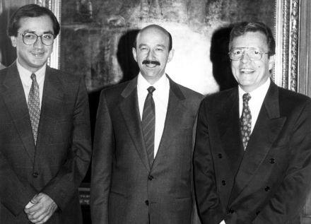 Otto Granados Roldán (izq.), Carlos Salinas y José Carreño (der.) en 1992. Foto: Proceso Archivo.
