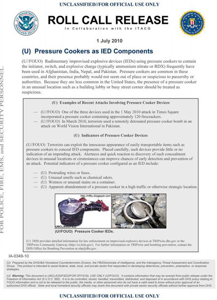 El comunicado del FBI donde detallan los materiales de las bombas. Foto: FBI