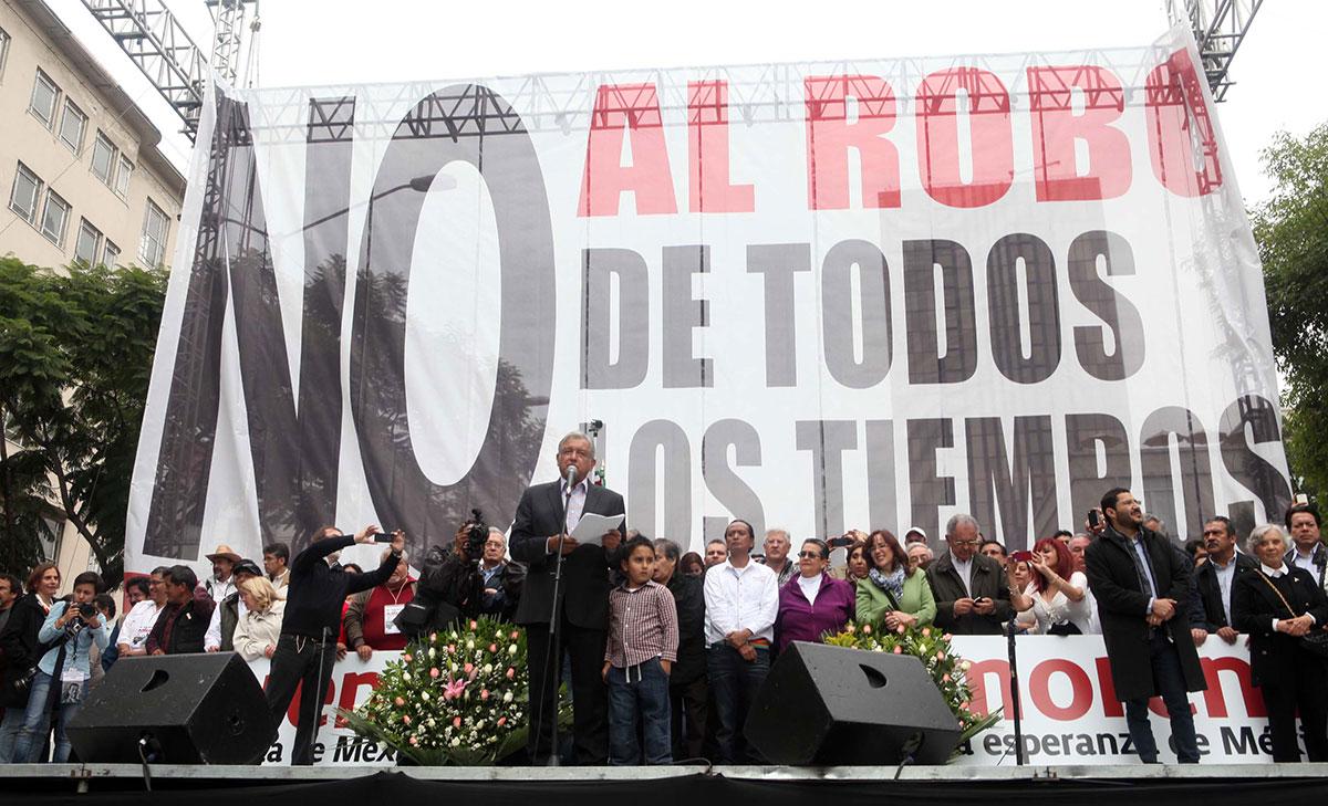 El mitin de López Obrador. Foto: Benjamín Flores.