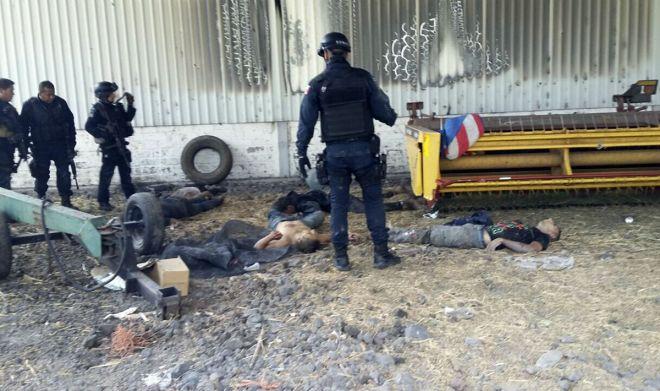 Los cuerpos de civiles abatidos durante el enfrentamiento en Michoacán. Foto: AP