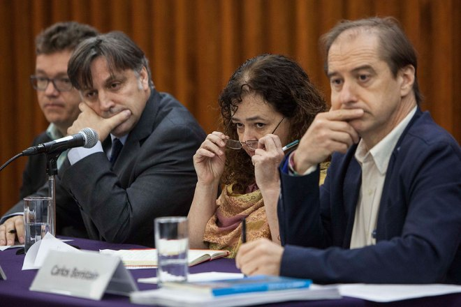 El Grupo Interdisciplinario de Expertos Independientes en conferencia de prensa. Foto: Germán Canseco