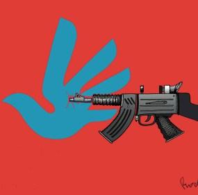 Derechos humanos y armamentismo. Cartón de Rocha
