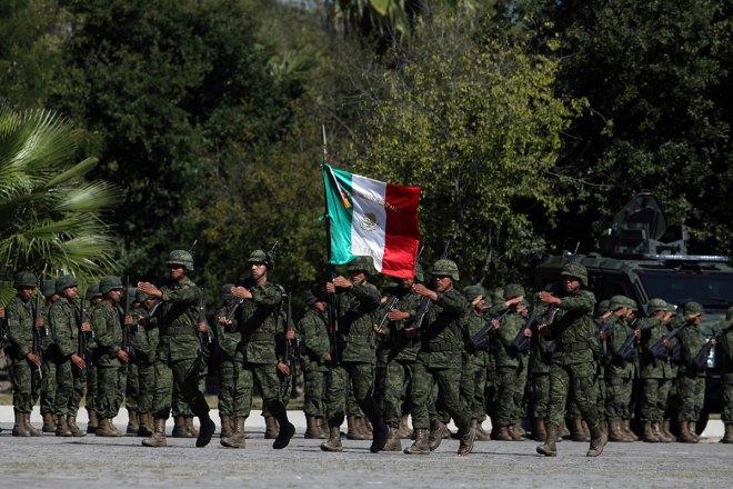 Soldados en General Escobedo, Nuevo León. Foto: Víctor Hugo Valdivia