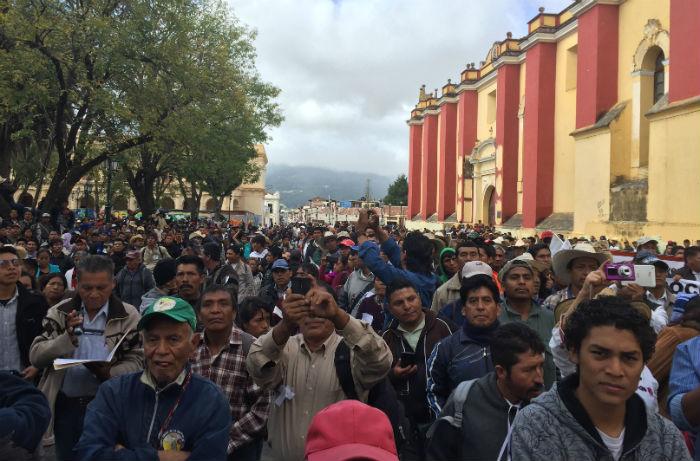 La marcha en San Cristóbal de las Casas. Foto: Especial