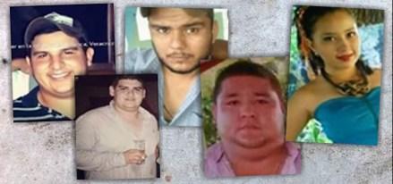 José Benítez de la O, Mario Arturo Orozco, Alfredo González Díaz, Bernardo Benítez Arroniz y Susana Tapia Garibo, jóvenes desaparecidos en Veracruz. Foto: Especial