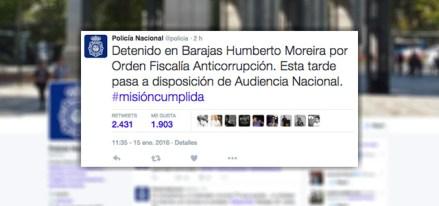 El mensaje de la detención de Moreira en la cuenta de Twitter de la policía de España.