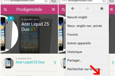 afficher site normale android