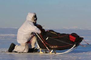 Aliy Zirkle on the Bering Sea Coast (photo courtesy of Sebastian Schnuelle)