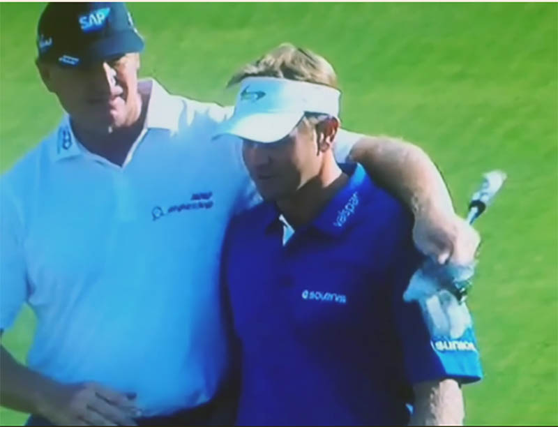 Ernie Els showed class by congratulating Billy Hurley as the two were walking up the fairway on the the 18th hole. Credit: CBS Screengrab