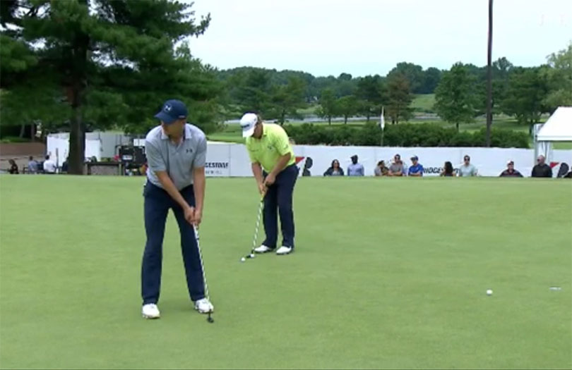 Jordan Spieth hit a no-look putt on the practice green prior to the final round of the WGC-Bridgestone Invitational: Credit PGA Tour Screengrab