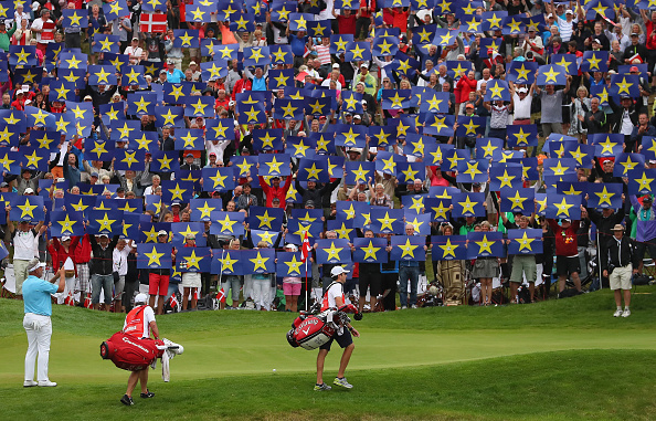 AALBORG, DENMARK - AUGUST 26:  Crowds hold up Go Europe placards for the European Ryder Cup Team Captain Darren Clarke on the 16th green during the second round of Made in Denmark at Himmerland Golf & Spa Resort on August 26, 2016 in Aalborg, Denmark.  (Photo by Andrew Redington/Getty Images)