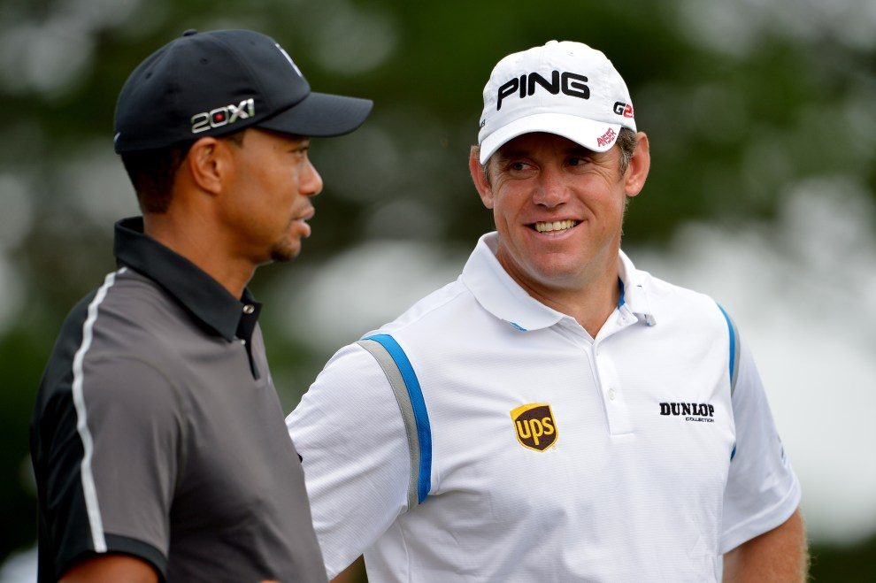 ARDMORE, PA - JUNE 11:  (L-R) Tiger Woods of the United States and Lee Westwood of England talk during a practice round prior to the start of the 113th U.S. Open at Merion Golf Club on June 11, 2013 in Ardmore, Pennsylvania.  (Photo by Drew Hallowell/Getty Images)