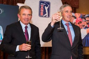 Jay Monahan, who joined the PGA TOUR in 2008, raised a glass to departing Commissioner Tim Finchem during a ceremony at TPC Sawgrass on Monday. (Stan Badz/PGA TOUR)