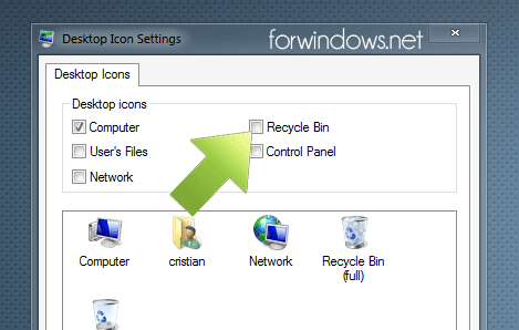 Afiseaza Recycle Bin pe Desktop