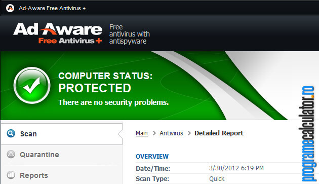 calculator protejat de antivirusul gratuit Ad-Aware Free Antivirus