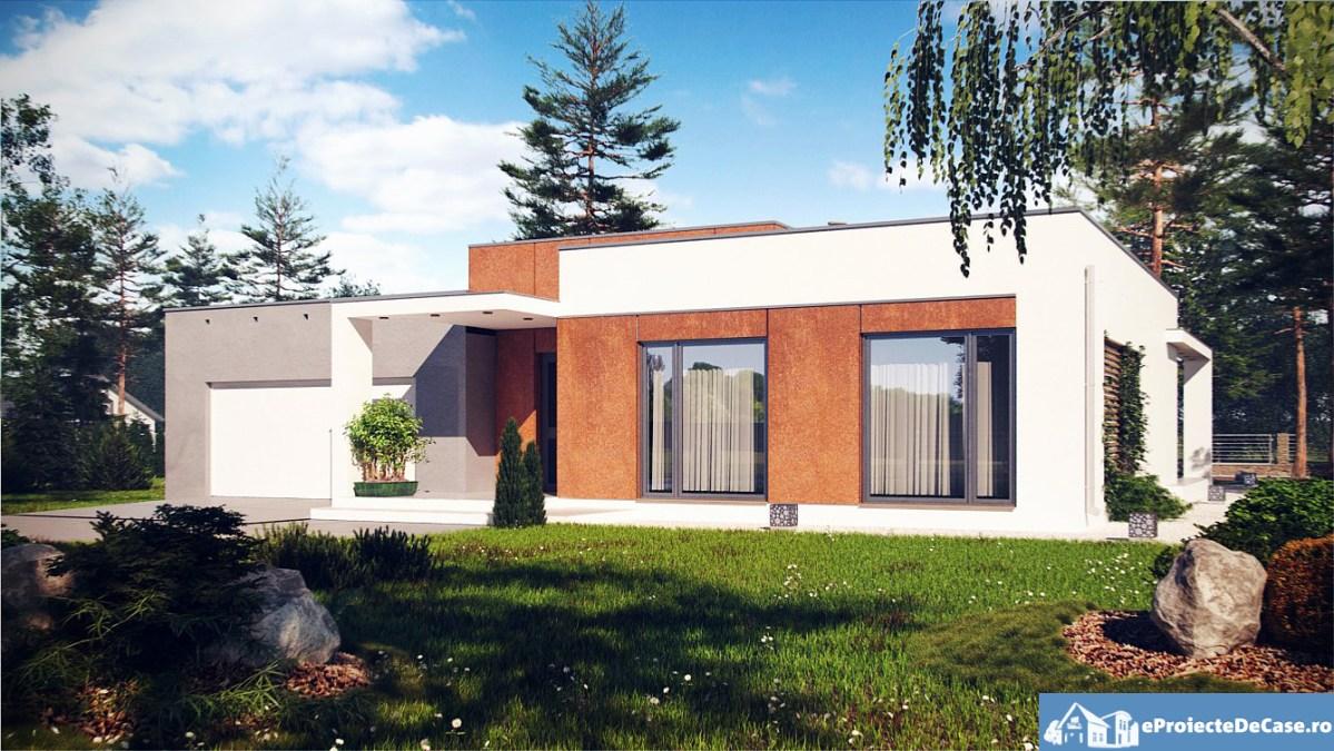Proiect de casa cu parter si acoperis plat 269