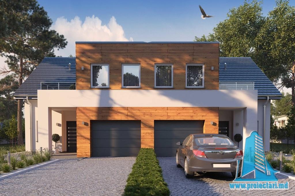 Proiect de casa duplex cu demisol, parter, etaj terasa de vara si garaj pentru un automobil - 100940
