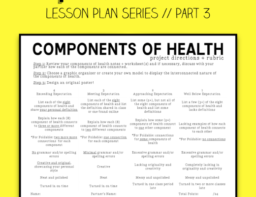 Health Lesson Plan Series / Health Unit Plans