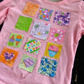 Fabric scrap collage art shirt