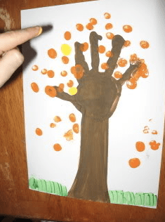 Painted handprint and fingerprint fall tree from WalkingByTheWay.com