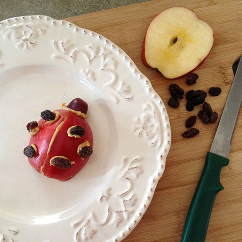 Ladybug Apple and Raisin Snack