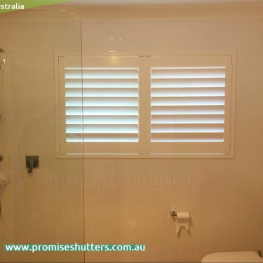 normal installation for the white solid Vinyl shutters in different panels