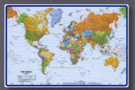 Map o mat 25 1 2 x17 world map desk pad with atlantic centered 20090752697 gumiabroncs Images