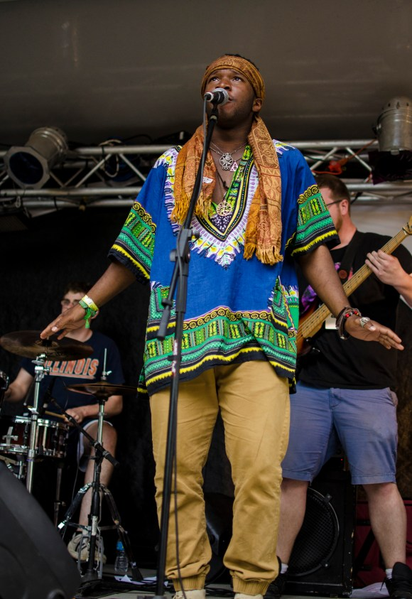 Photo by Billi Jo Hart | Prospectus News Church Booty vocalist Crofton Coleman performs with the band at Summer Camp Music Festival on Sunday, May 24, 2015.