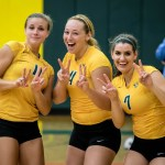 Photo by Scott Wells | The Prospectus   Cobras Laura Gross, Hayley Gray, and Lizzie Barnard celebrate after their second set win in their match against Rend Lake.  Parkland was victorious in all six matches they played over the tournament weekend.