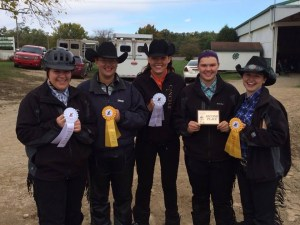 Photo by Tracy Rexroad | Parkland Equestrian Team From left to right, Equestrian Team riders Lena Daugherty, Lauren Hawker, Lauren Hocking, Kimmy Schwartz, and Mandy Robeck proudly show their awards after a successful 2015 competition at St. Mary of the Woods College.