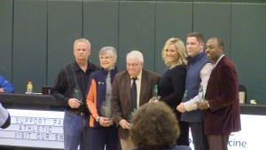 Photo by Alex Davidson | The six Athletic Hall of Fame inductees (from left to right): Steve Ward, Rachel Schroeder, Carl Meyer, Leslie Burnside, Derek Drage, and Keith Parks.