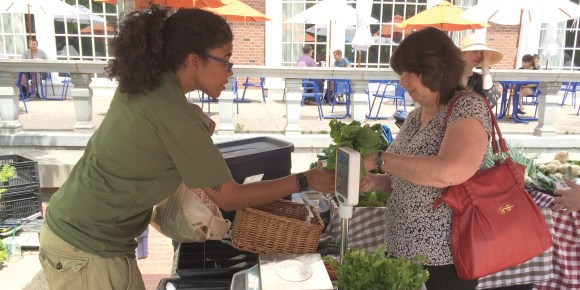 Photo by Greg Gancarz |  UIUC student and SSF employee Anna Serrano bags up a purchase for a customer at the SSF's Main Quad stand location.